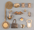 Estate Jewelry:Lots, Twelve 18K, 14K, and Other Metal Jewelry Items including 1910 $5Gold Piece Necklace. Marks: (various). 24 inches (61.0 cm) ...(Total: 10 Items)