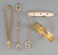 Estate Jewelry:Other , Four Various Pieces of 14K Gold and Gilt Metal Jewelry. Marks:(various). 2-3/8 inches diameter (6.0 cm) (largest, German br...(Total: 3 Items)