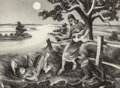 Fine Art - Work on Paper:Print, John Stockton de Martelly (American, 1903-1980). Old Moon,1941. Lithograph. 10 x 13-3/4 inches (25.4 x 34.9 cm) (image)...