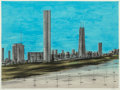 Prints & Multiples, Richard Aberle Florsheim (American, 1905-1979). Chicago Skyline. Lithograph in colors. 17 x 22-3/4 inches (43.2 x 57.8 c...