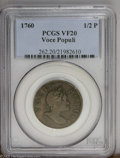 1760 1/2P Hibernia-Voce Populi Halfpenny VF20 PCGS, Z.-2A, N.4, attractive olive-brown surfaces; and a 1760 Hibernia-Voc...