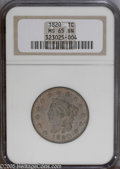 Large Cents: , 1820 1C Large Date MS65 Brown NGC. N-13, R.1. Iridescent rose, purple, and olive colors grace this vividly toned and well p...