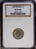 Proof Indian Cents: , 1864 1C Bronze No L PR65 Brown NGC. This beautiful proof exhibits vivid lime-green, crimson, and orange toning in the field...