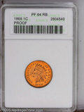 Proof Indian Cents: , 1869 1C PR64 Red and Brown ANACS. Fully struck with medallic alignment of the obverse and reverse, and rich reddish-gold to...