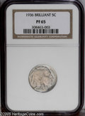 Proof Buffalo Nickels: , 1936 5C Type Two--Brilliant Finish PR65 NGC. Unlike the SatinFinish proofs of this year, this piece has surfaces that are ...