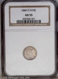 Seated Half Dimes: , 1849-O H10C AU55 NGC. Deep lavender-gray obverse color and lightersilver-gray and gold reverse toning adorns this bold O-...