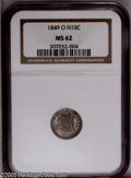 Seated Half Dimes: , 1849-O H10C MS62 NGC. Only 140,000 pieces were struck of the 1849-Ohalf dime. It is possibly scarcer than the mintage sugg...