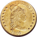 Early Half Eagles, 1807 $5 Bust Right, BD-4, High R.4, MS64 NGC....