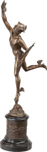 Bronze:European, A Bronze Mercury Figure after Giambologna. 33-3/4 inches high (85.7cm) (overall). Property from the Estate of Charles Sch...