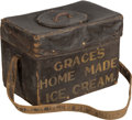 General Americana, A Folk Art Painted Canvas Ice Cream Salesman Chest, circa 1930. 14h x 18-3/4 w x 12-1/4 d inches (35.6 x 47.6 x 31.1 cm) (c...