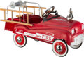 General Americana, A Gearbox Pedal Car Company Red Fire Truck No. 281 PedalCar. 20-1/2 h x 39 w x 15 d inches (52.1 x 99.1 x 38.1 ...
