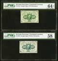 Fractional Currency:First Issue, Fr. 1242 10¢ First Issue PMG Choice Uncirculated 64 EPQ;. Fr. 1243 10¢ First Issue PMG Choice About Unc 58.. ... (Total: 2 notes)