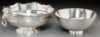 Two Gorham and Tiffany & Co. Sterling Silver Trophy Bowls, New York, circa 1925 Marks: (various) 4-7/8 inches h