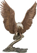 Bronze:European, Continental School (20th century). Eagle. Bronze with brownpatina. 41 inches (104.1 cm) high . Property from the Coll...