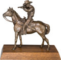 Sculpture, Eugenie Kamrath Mygdal (American, b. 1939). Mounted Shooting, 1977. Bronze with brown patina. 12 inches (30.5 cm) high o...