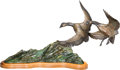 Fine Art - Sculpture, American:Contemporary (1950 to present), Bob Wolf (American, 1937-2009). Geese in Flight, 1977. Bronze with polychrome. 14 inches (35.6 cm) high on a 1 inch (2.5...