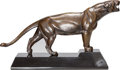 Bronze:European, A Maurice Prost Art Deco Bronze Figure of a Panther on Onyx Base,circa 1930. Marks to base: M. PROST. 13 h x 21 w x 5-3...