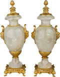 Decorative Arts, Continental:Other , A Pair of Gilt Bronze-Mounted Rock Crystal Urns, 21st century. 21 inches high (53.3 cm). ... (Total: 2 Items)