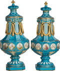 Ceramics & Porcelain, Continental:Other , A Pair of Sevres-Style Porcelain Covered Urns, late 19th century.Marks: (pseudo Sevres marks). 27-3/4 inches high (70.5 cm)...(Total: 2 Items)