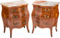 Furniture : French, A Pair of Italian Walnut Bombe Commodes with Variegated Marble Tops, 20th century. 30-1/2 h x 24-3/4 w x 15-3/4 d inches (77... (Total: 4 Items)