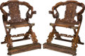 Asian:Chinese, A Pair of Chinese Hardwood Folding Horseshoe Armchairs with Cloudand Dragon Motif. 43 h x 30-1/2 w x 31-1/2 d inches (109.2...(Total: 2 Items)