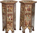 Furniture : Continental, A Pair of Egyptian Motif Polychromed and Mother-of-Pearl InlaidHexagonal Side Tables . 32-3/4 inches high x 16-1/4 inches w...(Total: 2 Items)