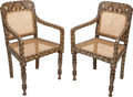 Furniture : Continental, A Pair of Anglo-Colonial Style Inlaid and Caned Hardwood Armchairs.35 h x 22 w x 18 d inches (88.9 x 55.9 x 45.7 cm). ... (Total: 2Items)