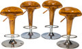 Furniture : Continental, A Set of Four Art Moderne Burlwood and Chromed Bar Stools. 24-1/4inches high x 15 inches diameter at base (61.6 x 38.1 cm)...(Total: 4 Items)