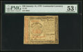 Colonial Notes:Continental Congress Issues, Continental Currency January 14, 1779 $40 PMG About Uncirculated 53EPQ.. ...