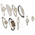Estate Jewelry:Watches, Lady's Diamond, Synthetic Stone, Platinum, White Metal Watches & Cases . ... (Total: 9 Items)
