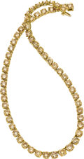 Estate Jewelry:Necklaces, Colored Diamond, Gold Necklace. ...
