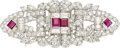 Estate Jewelry:Brooches - Pins, Diamond, Ruby, Platinum Double-Clip-Brooch. ...