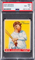 Baseball Cards:Singles (1930-1939), 1933 Goudey Tris Speaker #89 PSA NM-MT 8 - Only One Higher....
