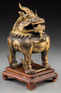 Asian:Chinese, A Chinese Partial Gilt Bronze Luduan Censer with Stand. 7 incheshigh (17.8 cm). ...