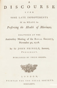 [Captain James Cook]. [Sammelband]. Sir John Pringle. A Discourse Upon Some Late Improvements of the Means for