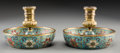 Other, A Pair of Cloisonné Candleholders, Qing Dynasty, 18th century. 3-1/2 inches high x 4-7/8 inches diameter (8.9 x 12.4 cm). ... (Total: 2 Items)