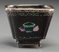 Asian:Chinese, A Chinese Lacquered, Mother-of-Pearl and Silver-Mounted Wine Cup.Marks: (eagle head), (weakly-struck mark). 1-3/4 h x 2 w x...