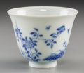 Asian:Chinese, A Chinese Blue and White Porcelain Month Cup, Qing Dynasty-RepublicPeriod. Marks: Six-character Kangxi mark in blue undergl...