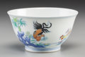 Asian:Chinese, A Chinese Porcelain Chicken Cup, 19th-20th century. Marks:Six-character Chenghua mark in blue underglaze and of...