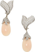 Estate Jewelry:Earrings, Diamond, Coral, Platinum Earrings. ...