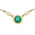 Estate Jewelry:Necklaces, Emerald, Diamond, Gold Necklace, Elsa Peretti for Tiffany &Co.. ...