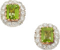 Estate Jewelry:Earrings, Peridot, Diamond, Gold Earrings. ...