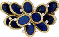 Estate Jewelry:Brooches - Pins, Diamond, Lapis Lazuli, Gold Brooch, French. ...