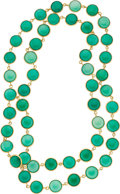 Estate Jewelry:Necklaces, Chrysoprase, Gold Necklace . ...