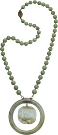 Estate Jewelry:Necklaces, Jadeite Jade, Silver, White Metal Necklace. ...
