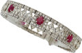 Estate Jewelry:Bracelets, Diamond, Ruby, White Gold Bracelet . ...