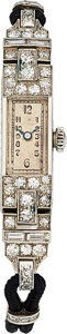Estate Jewelry:Watches, Art Deco Swiss Lady's Diamond, Platinum, Gold Watch. ...
