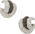 Estate Jewelry:Earrings, Colored Diamond, Diamond, White Gold Earrings . ...