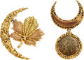 Estate Jewelry:Brooches - Pins, Victorian Gold Nugget, Gold Brooches. ... (Total: 2 Items)