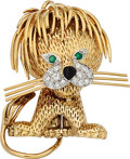 Estate Jewelry:Brooches - Pins, Diamond, Emerald, Gold Clip-Brooch, Van Cleef & Arpels, French. ...